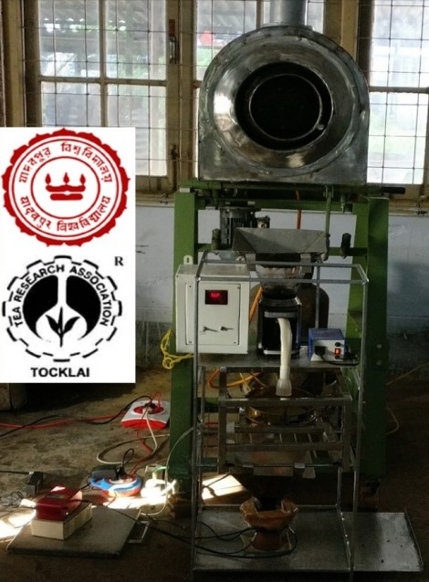 The entire system setup at the Model Tea Factory, Tocklai Tea Research Institute, Jorhat. The DWARF-Star NIR spectrometer can be seen placed at the bottom of the sample preparation machine inside a factory