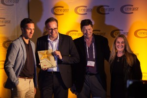 Michael Schiehlen, Head of Sales left, and Jrg Schmitz, Head of Zeiss Consumer Products 2nd from left, at the awards ceremony in Los Angeles
