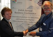 EMVA Young Professional Award Winner Dr Johannes Meyer left, EMVA President Jochem Herrmann Picture source EMVA