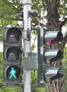 Camera-operated pedestrian crossing signal light